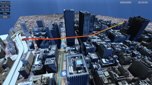 PLATEAUの3D都市モデルを取り込んで、ドローンの飛行シミュレーションをした例(資料:国土交通省、A.L.I. Technologies)