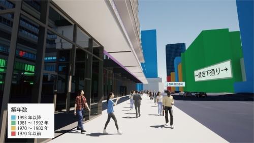 「徒歩出退社訓練支援ツール」の画面。築年数で色分けされた建物の情報を踏まえながら、安全な避難経路を確保する(資料:国土交通省、森ビル)
