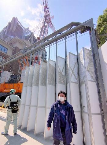緊急事態宣言が解除され、建設現場への立ち入り取材が許可された私(写真:日経クロステック)