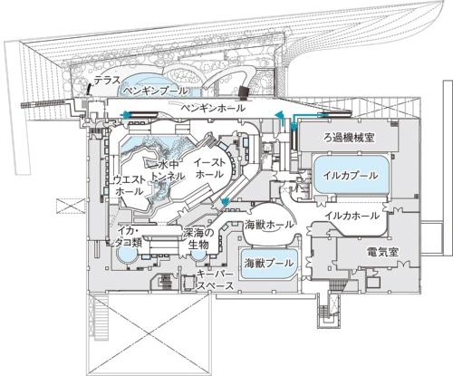 「上越市立水族博物館 うみがたり」の平面図。ペンギンの展示エリアは、施設の中でかなり広い(資料:日本設計)