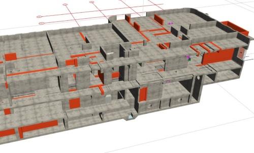 手書きの竣工図から生成した、建物の立体モデル(資料:竹中工務店)