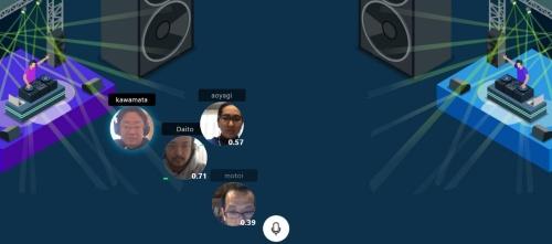 真鍋氏(左から2番目)ら3人と私(左端)で、オンラインパーティーの体験をしているところ。4人は別々の場所からリモートで参加している(資料:ライゾマティクス)
