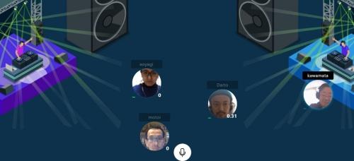 真鍋氏がオンラインでDJを始めたので、私(右端)はブースの前に移動した。自分の顔映像の位置は、自宅のパソコンからマウス操作で自由に動かせる(資料:ライゾマティクス)