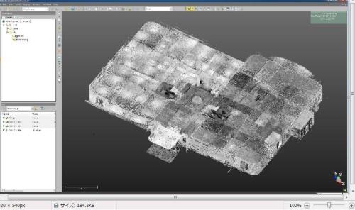 地上1階を3Dスキャンして点群データを集め、立体モデルにしたもの(資料:竹中工務店)