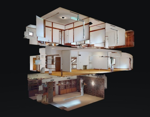 立体画像はどんな角度からでも見られる。人形遊びで使うおもちゃの部屋のように、家や部屋を横や斜めからのぞき込んだような「ドールハウス」ビューと呼ばれる立体画像の表現は、3D赤外線スキャンカメラならでは。現実世界ではできない、アリの巣のような壁越しの俯瞰(ふかん)画像が見られる(画像:ARCHI HATCH)