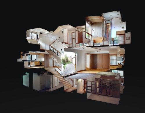 建築家の前川國男の自邸である「新・前川國男邸」をマーターポートで撮影した3D空間。部屋を横からのぞき込んだような「ドールハウス」ビューと呼ばれる立体表現で見たときの様子(資料:ARCHI HATCH)