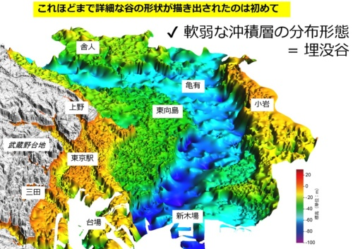 東京下町の低地(東京低地)の地下にある「埋没谷」(青い部分)。水分が多く軟らかい「沖積層」から成る埋没谷の詳細な形状を描き出したのは国内初。東京低地の広い地域が埋没谷の上にあることが分かる。意外にも、23区の東端に当たる江戸川区小岩エリアは埋没谷の上にはなく、地質地盤は決して悪くないことも判明した(資料:産業技術総合研究所地質調査総合センター)