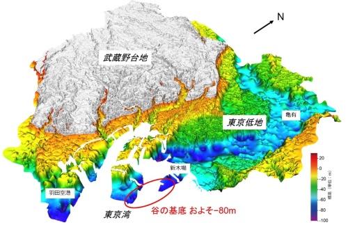 東京低地の地下に広がる軟らかい沖積層(埋没谷、青い部分)。濃い青が最も深い所で70~80mの厚さがある(資料:産業技術総合研究所地質調査総合センター)