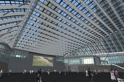 ロールスクリーンを使っていない、通常時の屋根のVR画像(資料:日建設計)