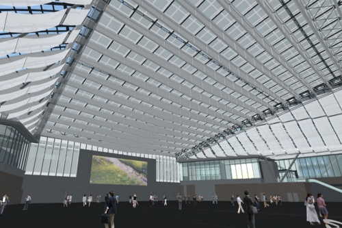 日差しが強く、ロールスクリーンを広げたときの屋根のVR画像。白色を選ぶと圧迫感が少なく、奥が透けて見えた(資料:日建設計)