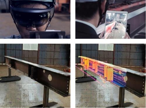 XRを使った鉄骨の生産管理や検査をするサービス「L'OCZHIT」の利用場面(資料:NTTドコモ)