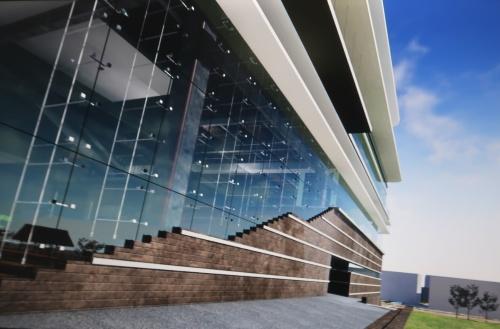 私がVRで見ている研究施設正面のガラス。青く見えているのが分かる(写真:日経クロステック)