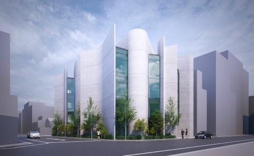 竹中工務店が東京・墨田に建設中のリバーホールディングス本社ビルのパース(完成予想図)。曲面を多用した複雑な形をしている(資料:竹中工務店)