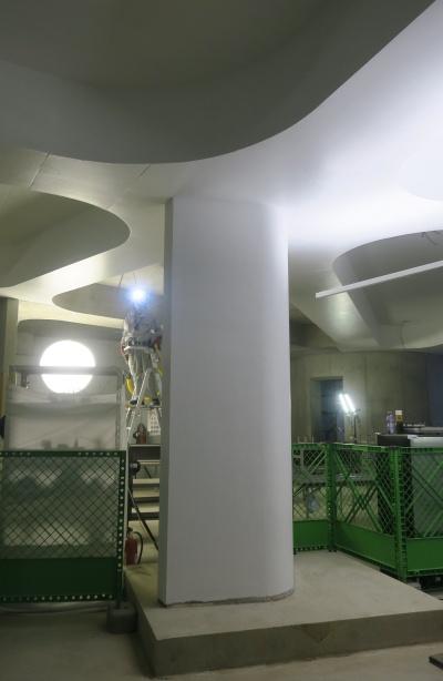 目に飛び込んできた曲線の壁や天井。見通しの良さと、ちょうどいい室内の明るさのせいか、空間はBIMで見た時よりもかなり広く感じられた(写真:日経アーキテクチュア)