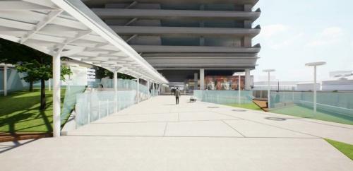 「豊洲MiCHiの駅」のデッキを通り、ホテル棟からオフィス棟に抜けるイメージ図(資料:清水建設)