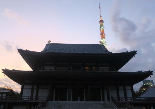 増上寺の大殿。すぐ後ろに東京タワーが見え、夜間は照明で輝く(写真:日経アーキテクチュア)