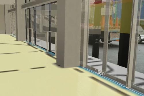 HoloLens 2越しに見ると、床にサッシの寸法が重ねて表示される(資料:東急建設)