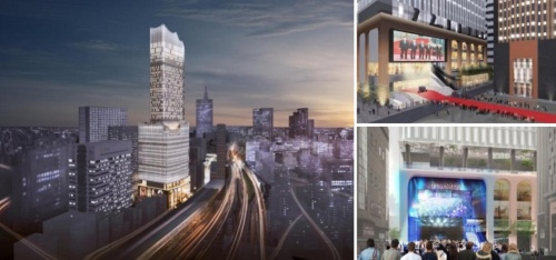 「新宿TOKYU MILANO再開発計画」で中核となる高層複合施設(左)、建物に隣接する「シネシティ広場」と連動した映画イベント(右上)、音楽イベント(右下)のイメージ。新宿の一大エンタメ拠点になるビルのファサード設計を永山氏の事務所が担当(資料:東京急行電鉄、東急レクリエーション)