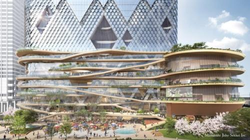 永山氏の事務所がトーチタワー低層部のデザインアドバイザーを務める。地上1~8階に「空中散歩道」を設ける計画だ。JR東京駅近くの新名所になるのは間違いない(資料:三菱地所)