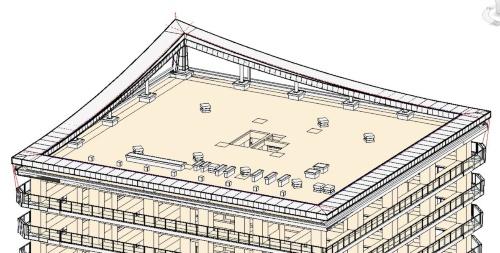 屋上全景のBIMモデル1(資料:長谷工コーポレーション)