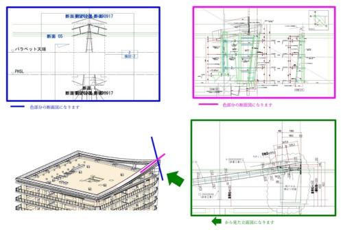 屋上アルミ庇の断面図(資料:長谷工コーポレーション)
