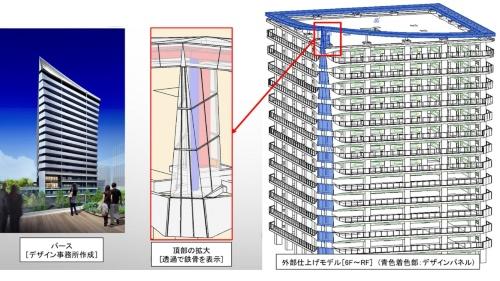 屋上アルミ庇と外壁コーナーの仕上げイメージ。青色の部分が連続しているように見せている(資料:長谷工コーポレーション)