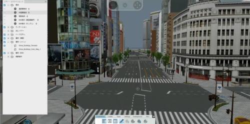 銀座4丁目の交差点を中心に、建物だけでなく道路や信号、街路樹などもデジタルモデルで再現(写真:大成建設)