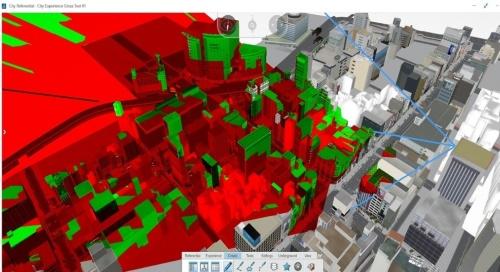 銀座のあるビルから見えるもの、見えないものを色分けした景観シミュレーション。緑が「見える」、赤が「見えない」を表している(写真:大成建設)