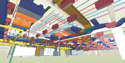 鹿島がS/PARKの施工で利用した、設備設計のBIM画面例(写真:鹿島)