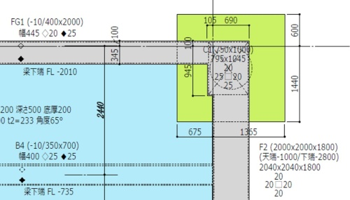 次世代型生産設計図の例。職人が今見るべき寸法だけを記載して、数字の見間違いを防ぐ。色分けもして、視覚的に見やすくしている(資料:大林組)