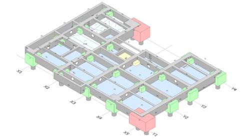 BIMモデルを使えば、2Dの紙の図面に縛られず、1フロアを1枚の全体図で表現するのも簡単だ。アイソメトリック図などを表示できる利点がある(資料:大林組)
