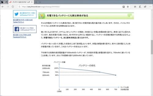 富士通クライアントコンピューティングの「FMVサポートサイト」には、バッテリーに関する詳しい解説がある
