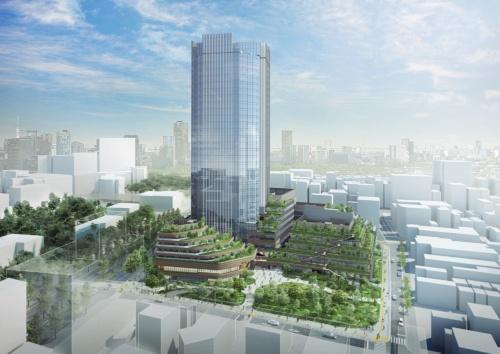 空から見たコモレ四谷のイメージ。超高層のオフィス棟ファサードには縦ルーバーを配し、空に溶け込むようなスカイラインをつくる(資料:都市再生機構)