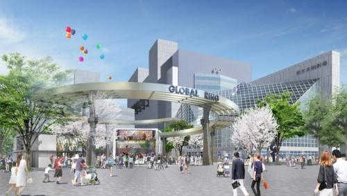 池袋西口公園をJR池袋駅側から見た完成イメージ(資料:三菱地所設計・ランドスケープ・プラスJV)