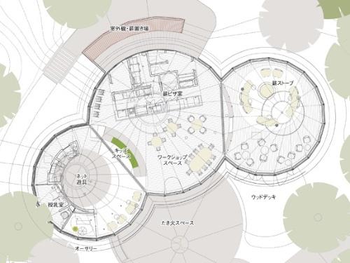 「POKO POKO」平面図。「日本初のアグリツーリズモリゾート」の触れ込みで2019年11月に開業する。季節や天候によらず、宿泊者が集まって過ごせる場所が必要になる。そこで元駐車場を使って建物を新設した(資料:クライン ダイサム アーキテクツ)