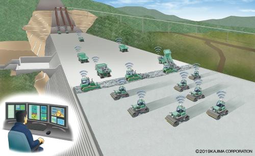 成瀬ダムの堤体打設工事にクワッドアクセルを適用する(資料:鹿島)