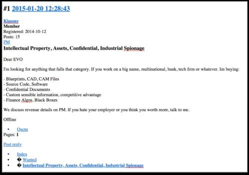 ダークウェブ内の人気オンライン掲示板で設計図や機密文書を求める投稿があった