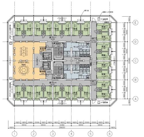 基本計画段階の2階平面図。各階に24部屋の個室(緑部分)と共同で勉強する部屋(オレンジ部分)を配置する(資料:玉川学園)