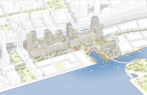 キーサイドの開発イメージ。現在は工場などが並ぶ一画に、次世代の街並みを形成する計画だ(資料:Sidewalk Labs)