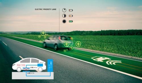 オランダの建設会社とデザイナーのダーン・ルースガーデ氏が作成した走行中に給電できる道路のイメージ(資料:Daan Roosegaarde、Heijmans Infrastructure)