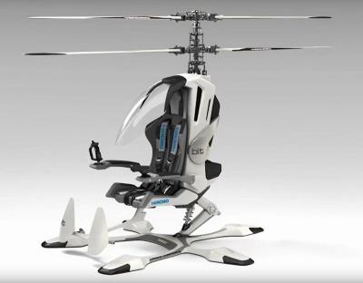 ヒロボーが開発した電動式の1人乗りヘリコプター「bit」。「タケコプター」のように使える