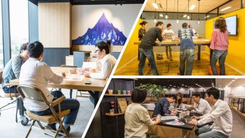大幅にリニューアルした日清食品ホールディングスの本社オフィスの様子。打ち合わせができる様々なエリアを設けている。外光の明るさやカウンターが印象的なエリアや、立ち会議に向くエリアなど種類が多彩だ