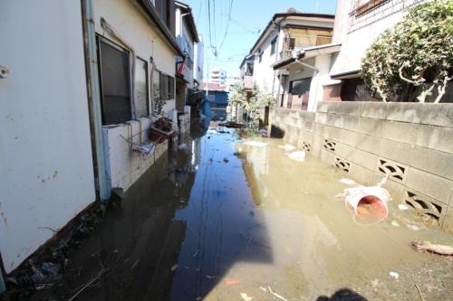 川崎市高津区の泥水に漬かった住宅地。汚水が混ざっていて、臭気が漂う場所もあった。10月13日撮影(写真:日経 xTECH)