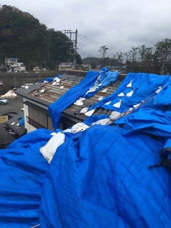 台風19号の通過後、福原建築がブルーシートの張り直し作業にあたっていた鋸南町の住宅。剥がれたブルーシートが絡まりあっていた(写真:福原建築)