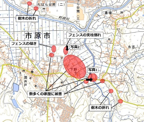 防災科学技術研究所の鈴木真一主任研究員が作成した、被害の見られた場所。国土地理院地図を利用してまとめた(資料:防災科学技術研究所)