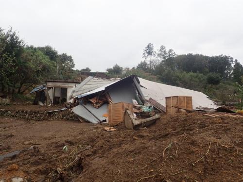 崩壊した2つの斜面の間に位置していた建物周辺の様子。2019年10月16日午前8時ごろ撮影(写真:若井明彦・群馬大学大学院教授)