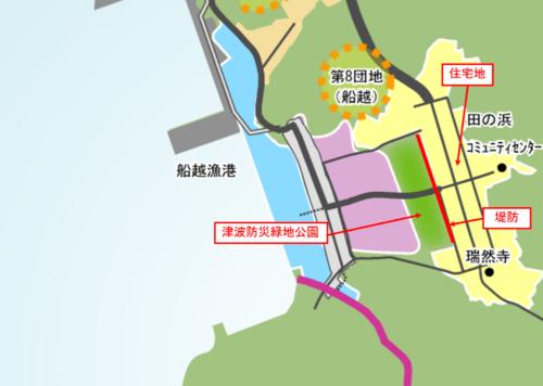 田の浜地区の復興まちづくり計画(2015年5月時点)の概要。山田町の資料に日経コンストラクションが一部加筆