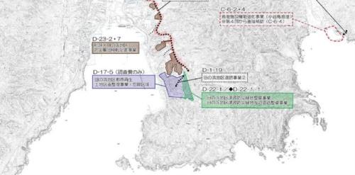 山田町が田の浜地区などで実施する復興交付金事業の計画(2018年12月時点)。緑色部分の約3.1㏊に津波防災緑地公園(約2.8㏊)と周辺道路を整備した(資料:山田町)