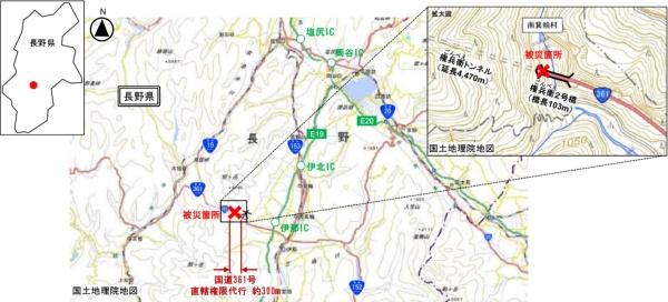 位置図。国土交通省が権兵衛2号橋の復旧を代行する(資料:国土交通省)