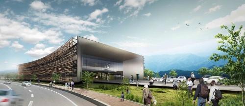 大子町が2019年3月に公開した、新庁舎の完成イメージ。右手はイベント広場だ(資料:遠藤克彦建築研究所)